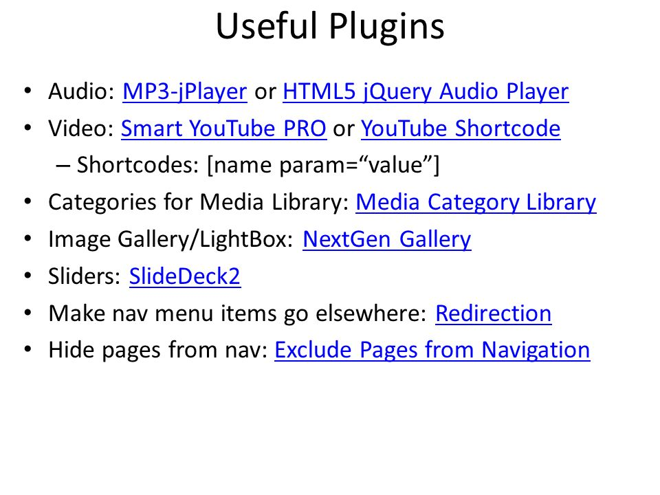 Useful Plugins Audio: MP3-jPlayer or HTML5 jQuery Audio Player