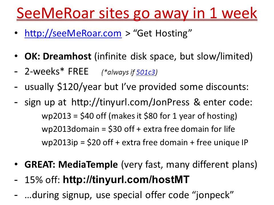 SeeMeRoar sites go away in 1 week