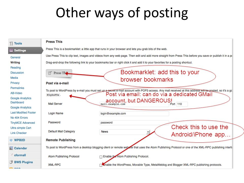 Other ways of posting Bookmarklet: add this to your browser bookmarks