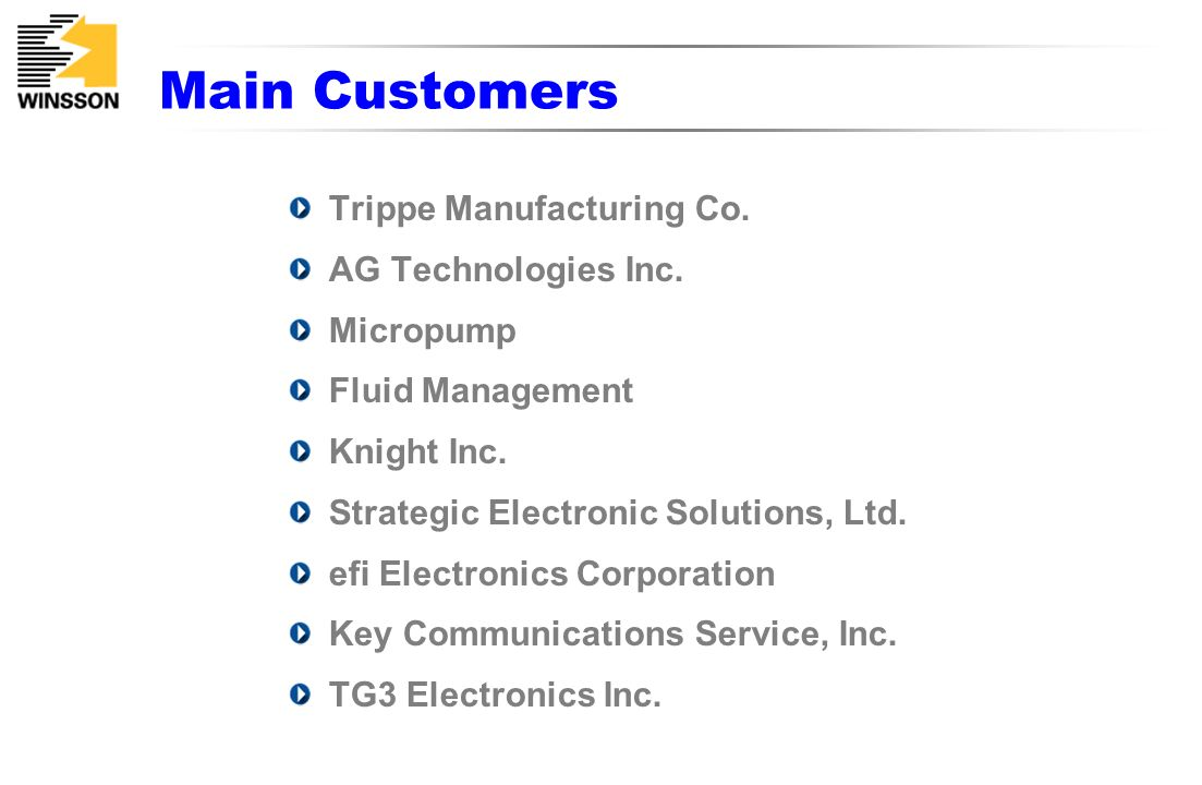 Main Customers Trippe Manufacturing Co. AG Technologies Inc. Micropump