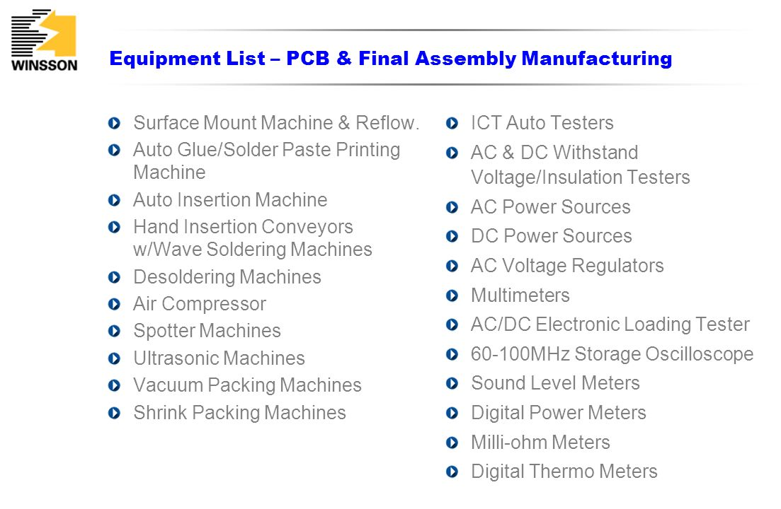 Equipment List – PCB & Final Assembly Manufacturing