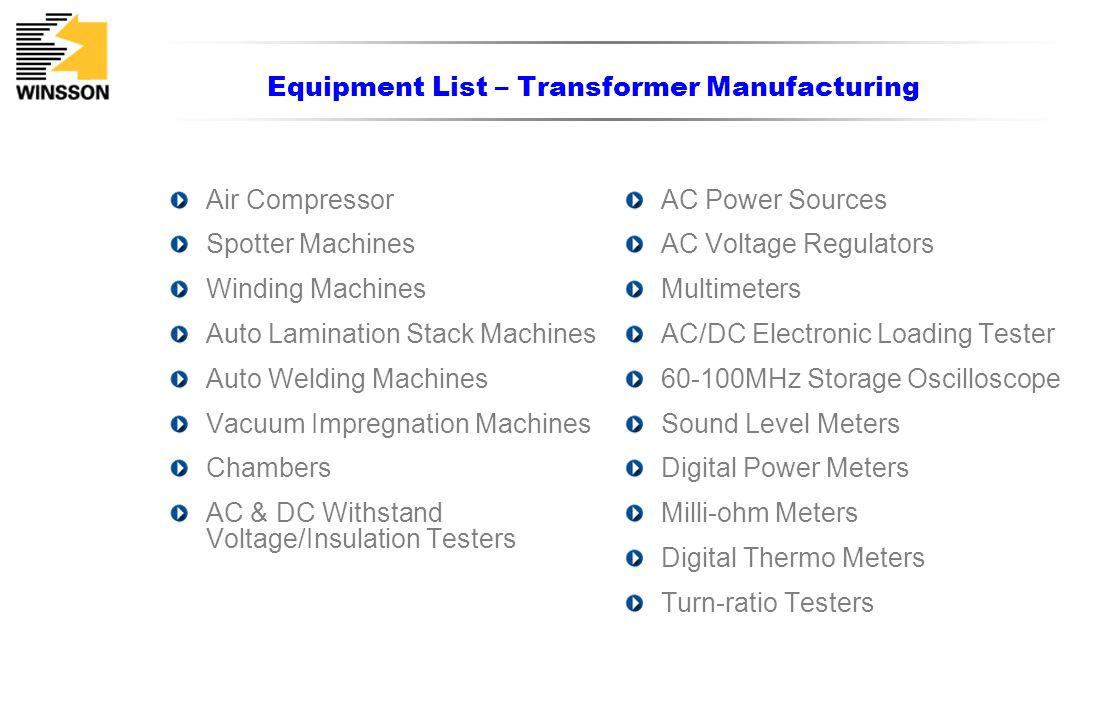 Equipment List – Transformer Manufacturing