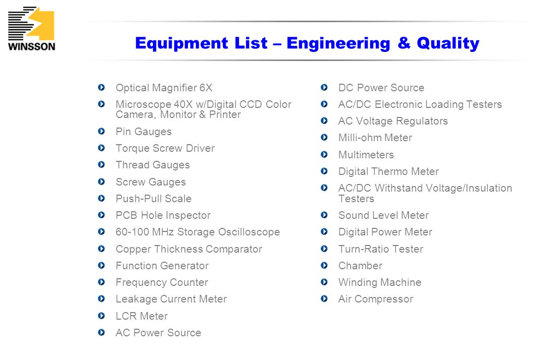 Equipment List – Engineering & Quality