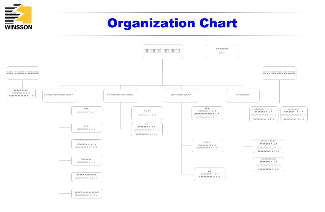 Organization Chart General Manager Winsson USA Vice General Manager