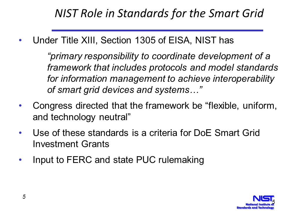 NIST Role in Standards for the Smart Grid