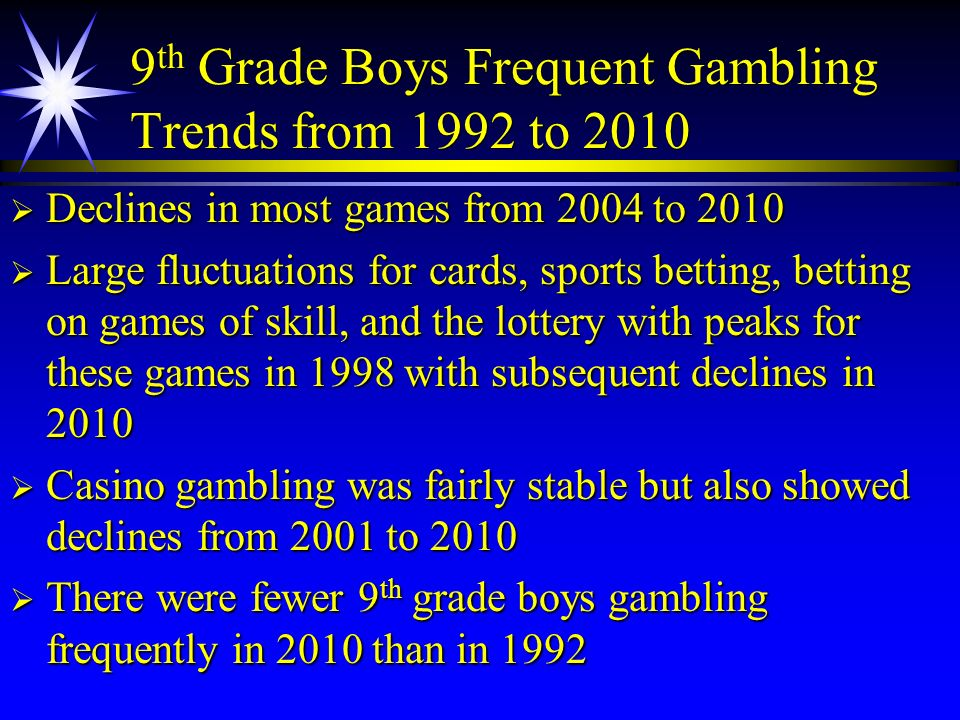 9th Grade Boys Frequent Gambling Trends from 1992 to 2010