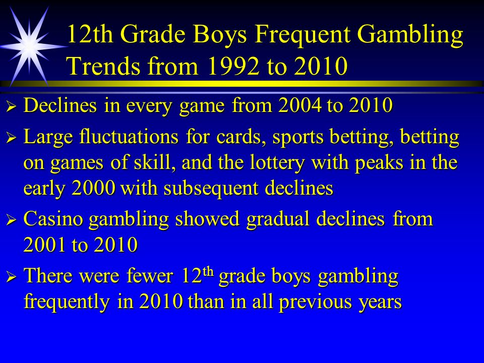 12th Grade Boys Frequent Gambling Trends from 1992 to 2010