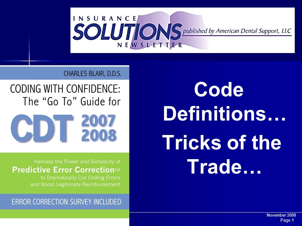 Code Definitions… Tricks of the Trade…