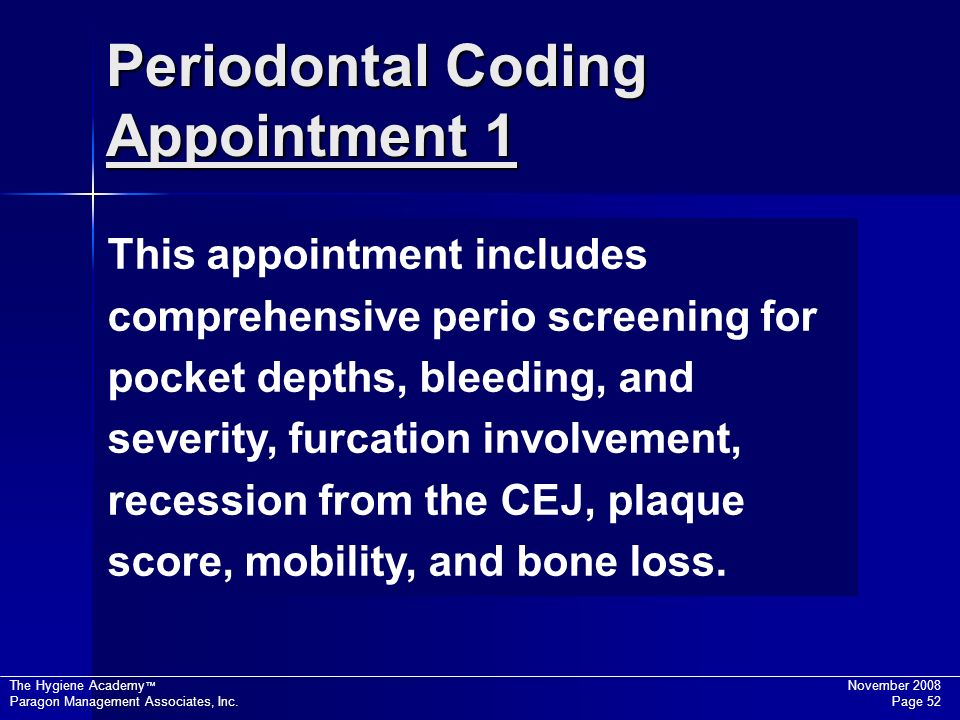 Periodontal Coding Appointment 1