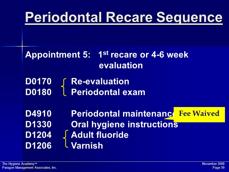 Periodontal Recare Sequence