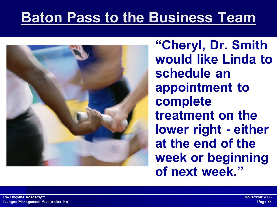 Baton Pass to the Business Team