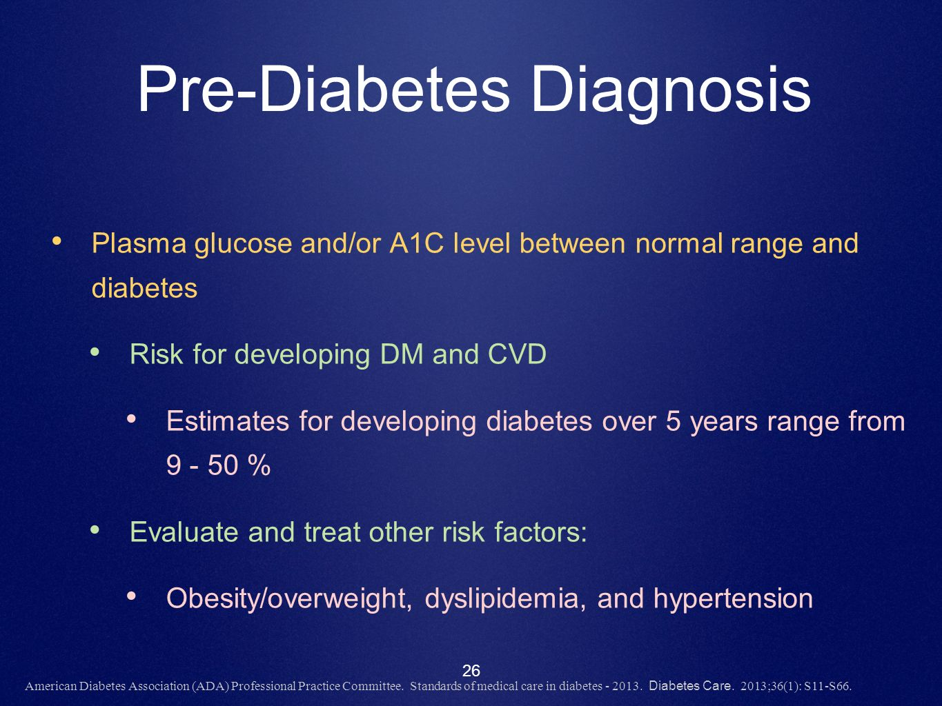 Pre-Diabetes Diagnosis