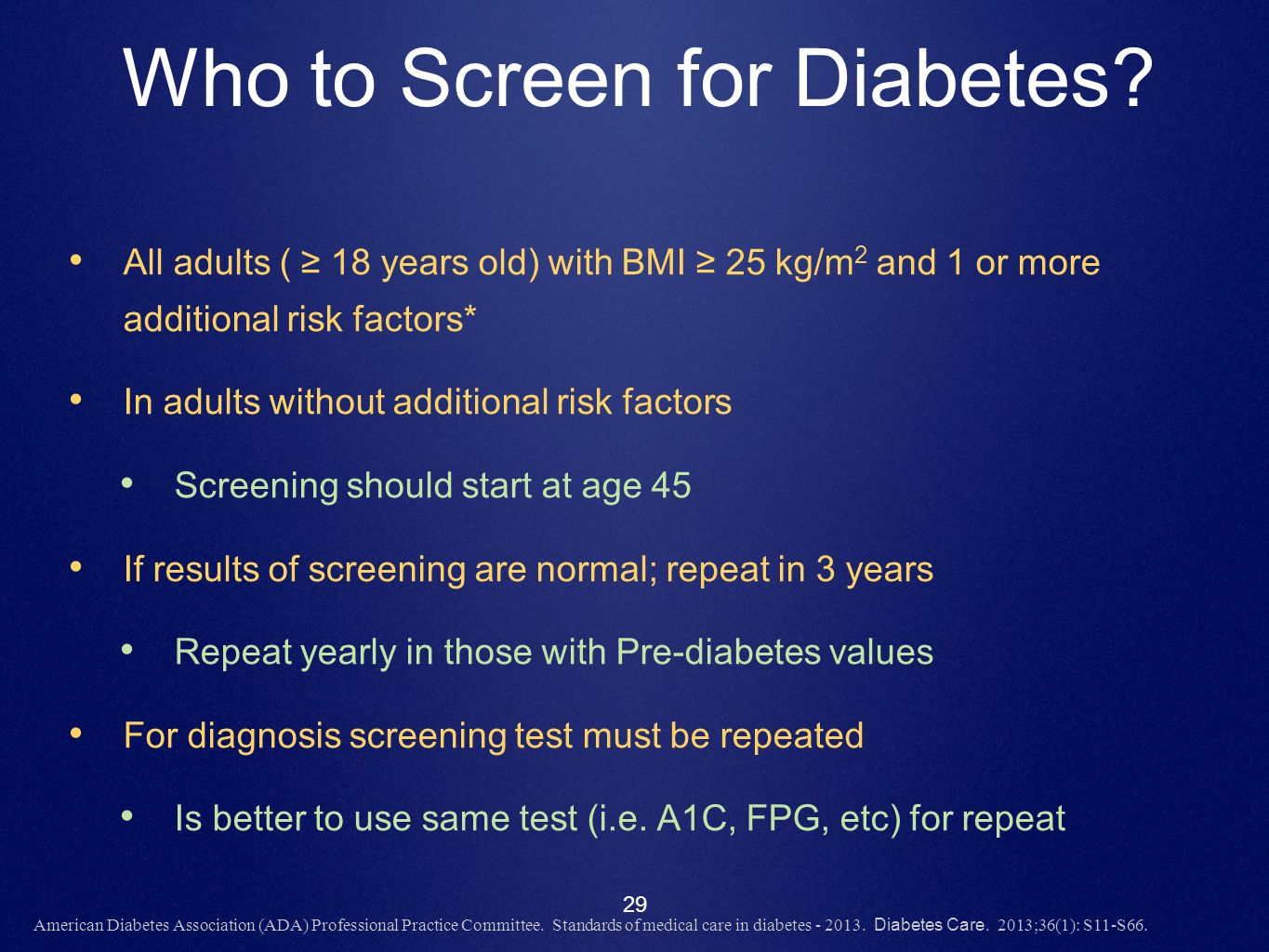 Who to Screen for Diabetes