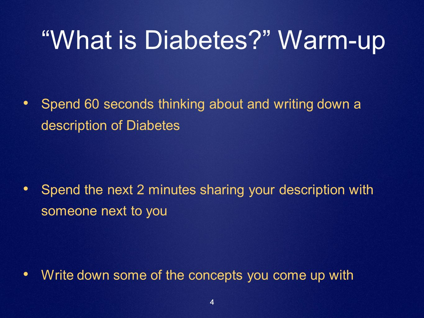 What is Diabetes Warm-up