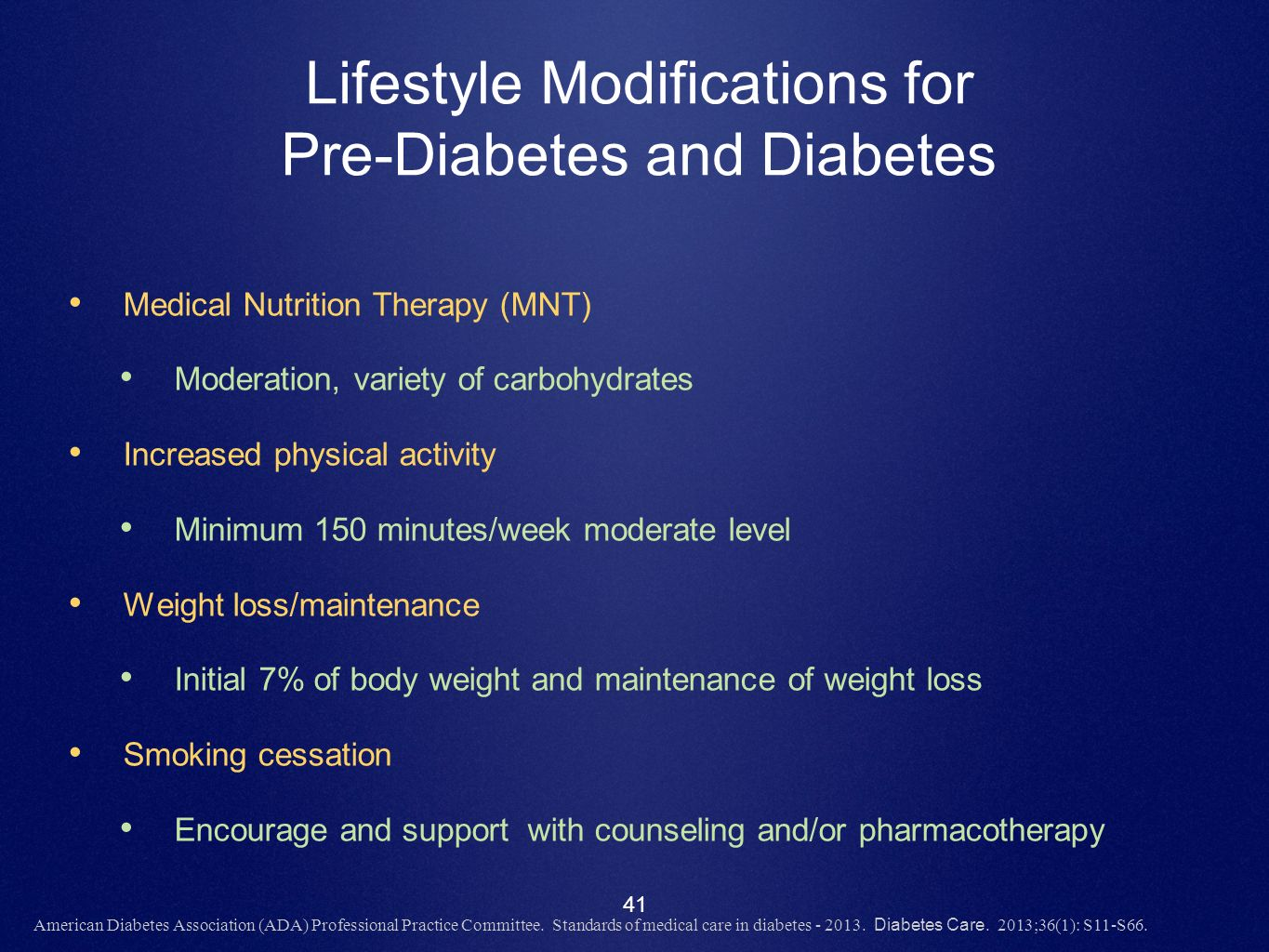 Lifestyle Modifications for Pre-Diabetes and Diabetes