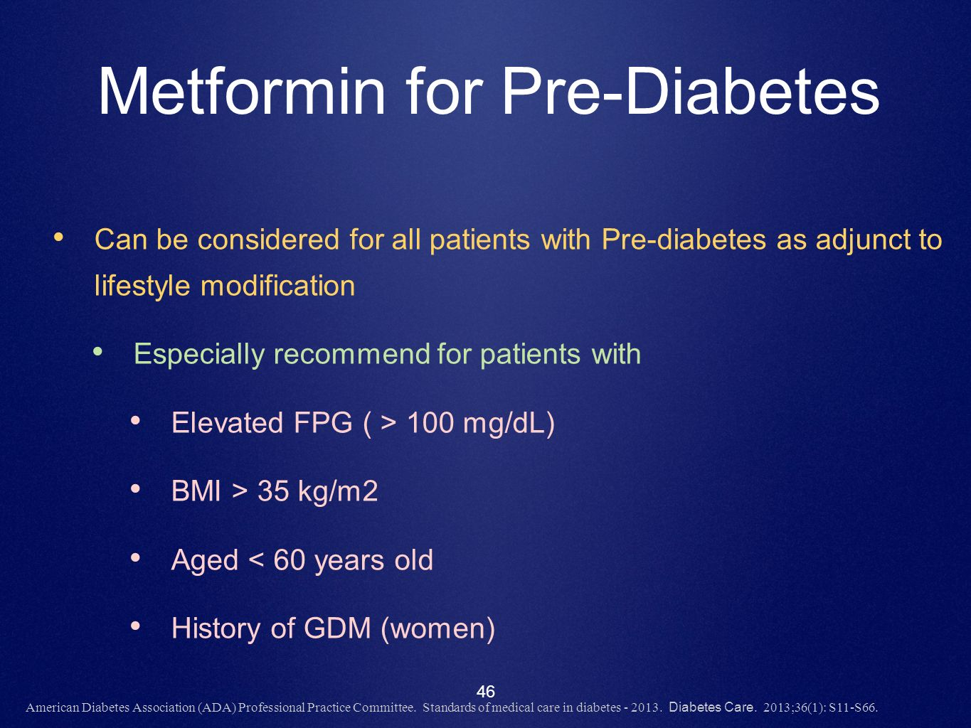 Metformin for Pre-Diabetes