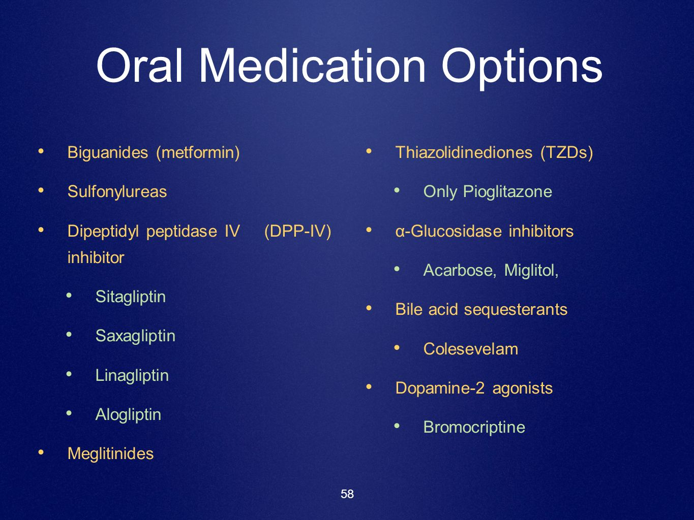 Oral Medication Options