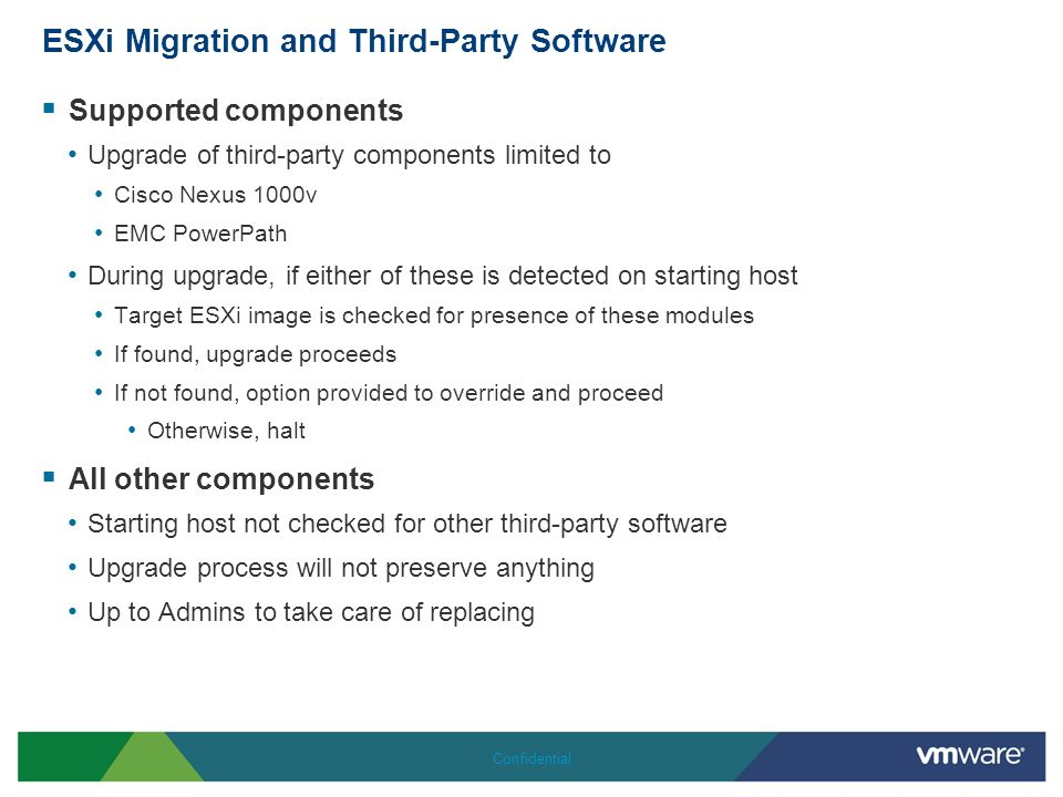 ESXi Migration and Third-Party Software