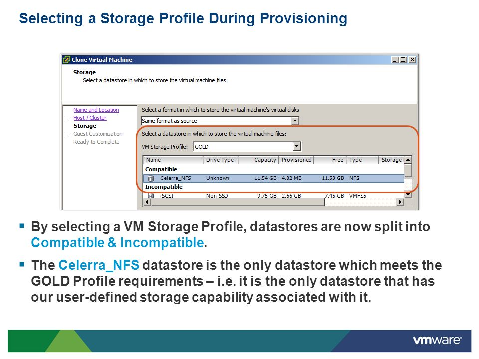 Selecting a Storage Profile During Provisioning