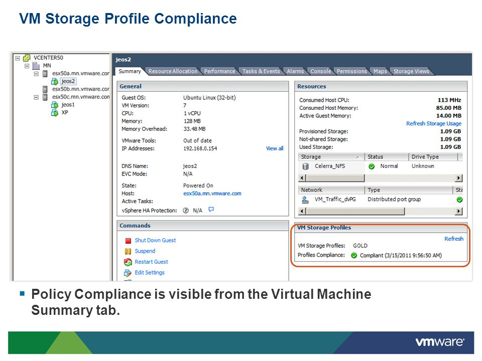 VM Storage Profile Compliance