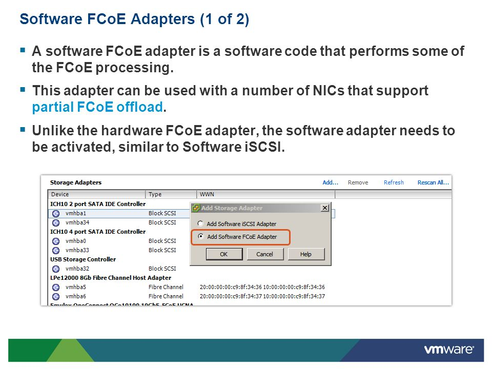 Software FCoE Adapters (1 of 2)