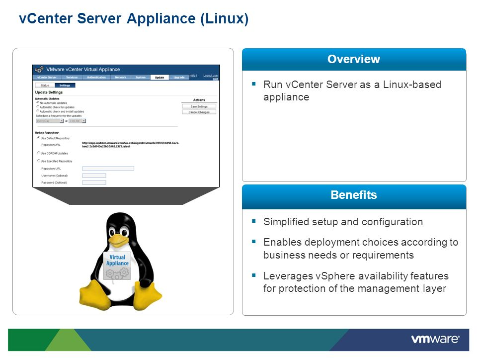 vCenter Server Appliance (Linux)