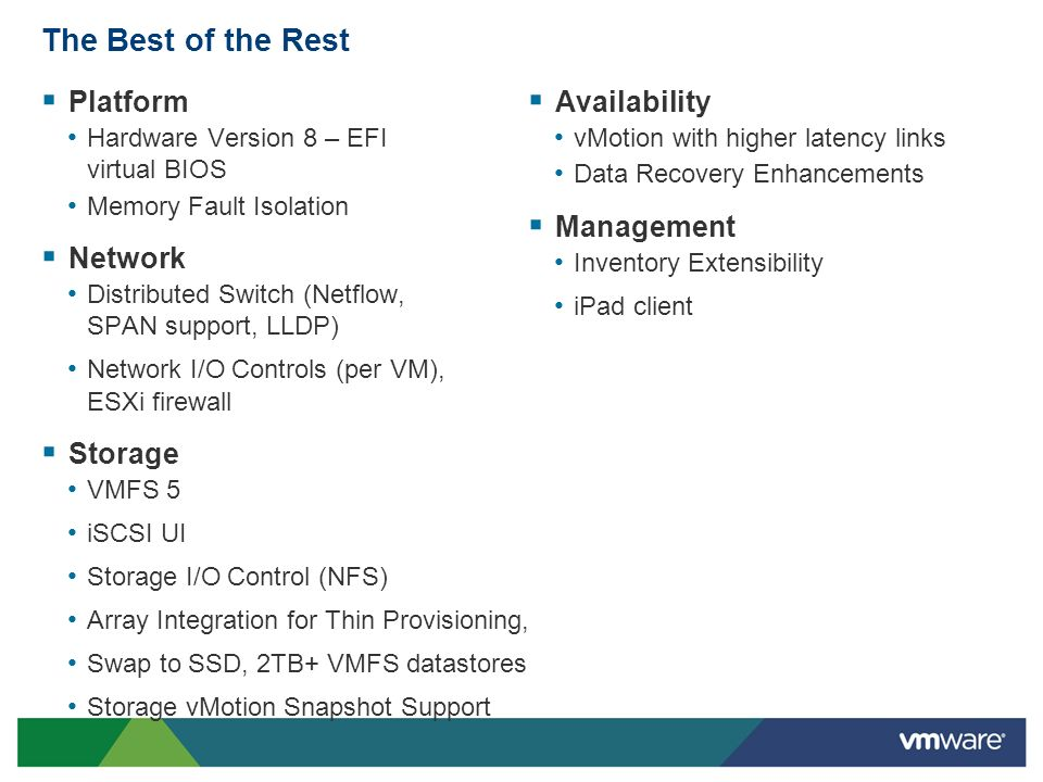 The Best of the Rest Platform Network Storage Availability Management