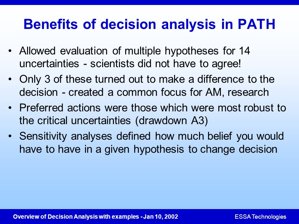 Benefits of decision analysis in PATH