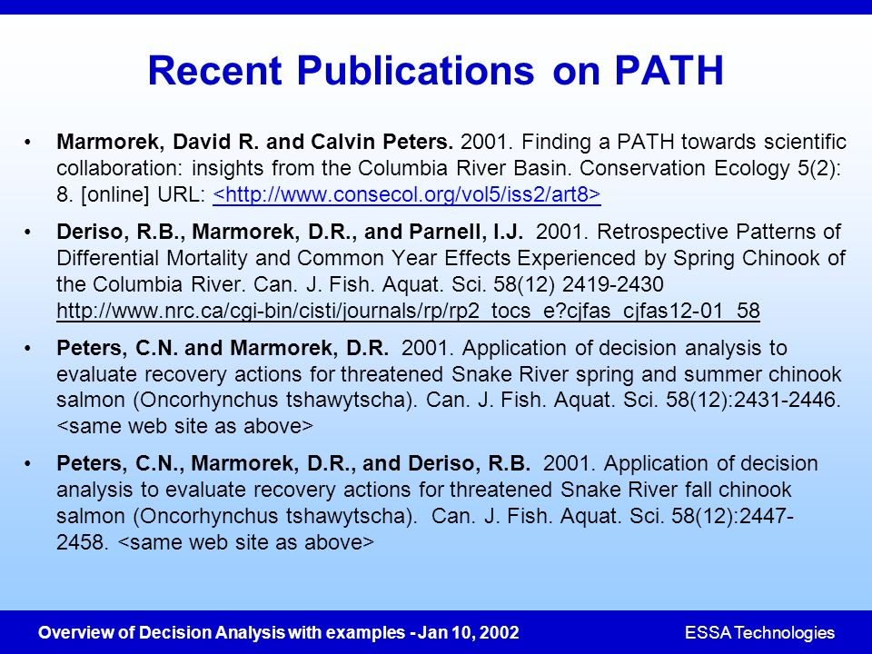 Recent Publications on PATH