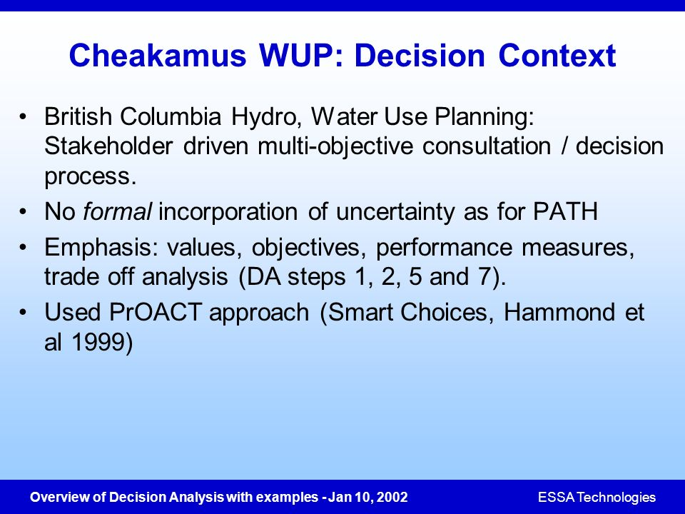 Cheakamus WUP: Decision Context