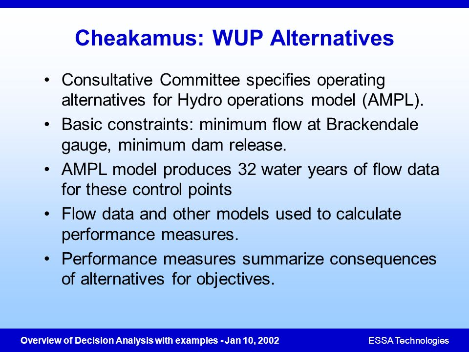 Cheakamus: WUP Alternatives