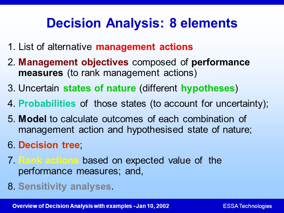 Decision Analysis: 8 elements