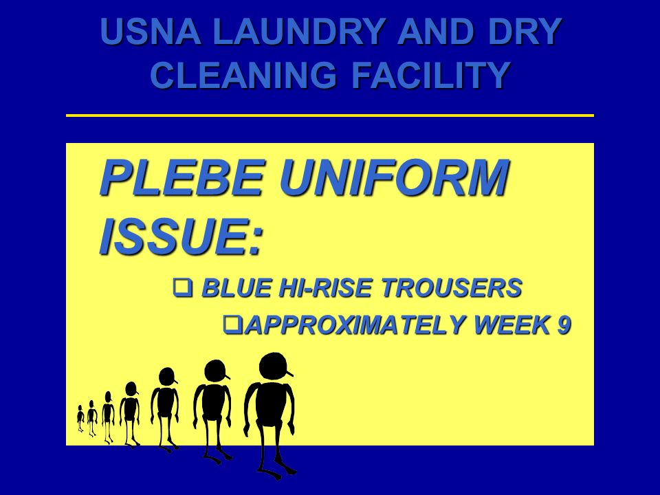 PLEBE UNIFORM ISSUE: BLUE HI-RISE TROUSERS APPROXIMATELY WEEK 9