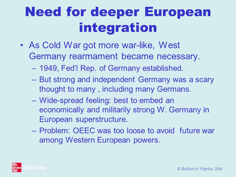 Need for deeper European integration