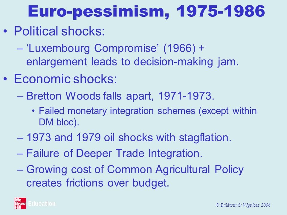 Euro-pessimism, 1975-1986 Political shocks: Economic shocks: