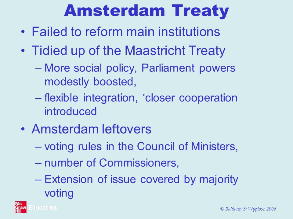 Amsterdam Treaty Failed to reform main institutions
