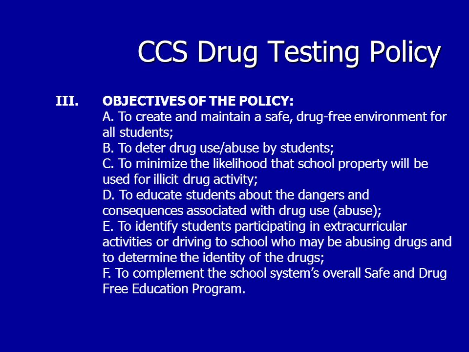 CCS Drug Testing Policy