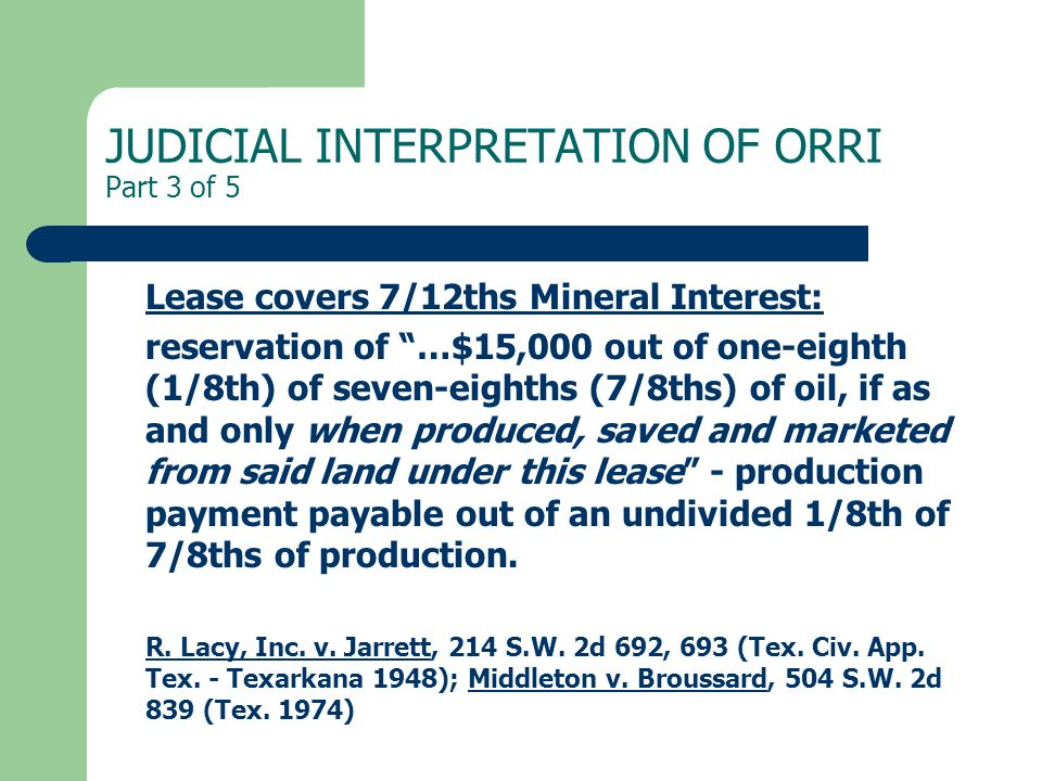 JUDICIAL INTERPRETATION OF ORRI Part 3 of 5