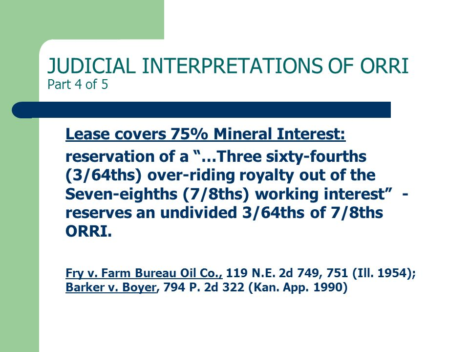 JUDICIAL INTERPRETATIONS OF ORRI Part 4 of 5