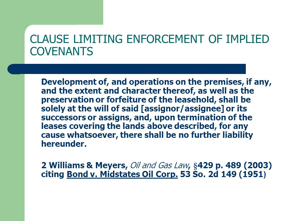 CLAUSE LIMITING ENFORCEMENT OF IMPLIED COVENANTS