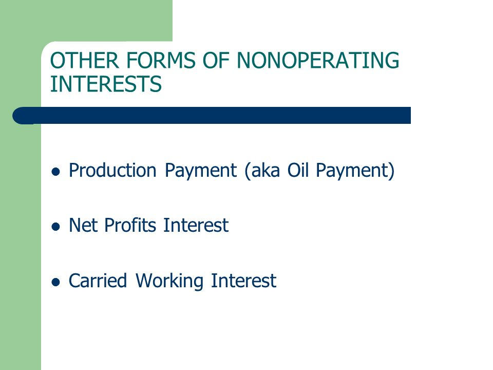 OTHER FORMS OF NONOPERATING INTERESTS