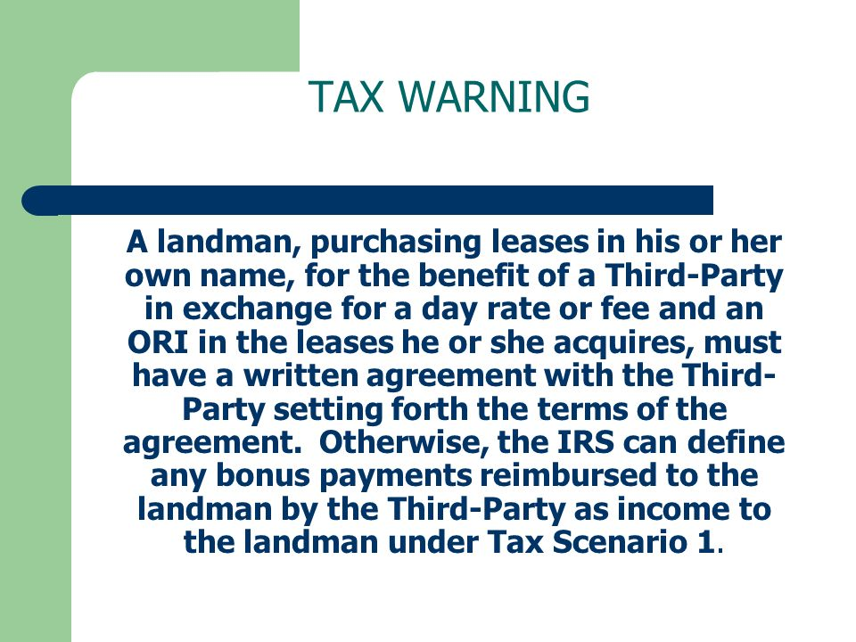 TAX WARNING