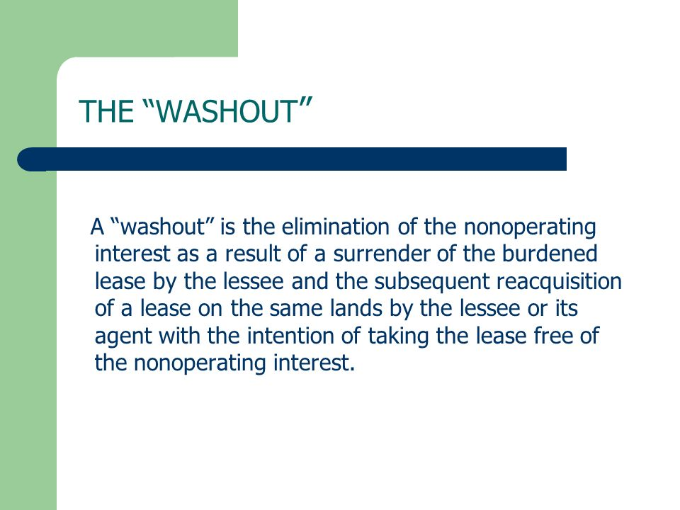 THE WASHOUT