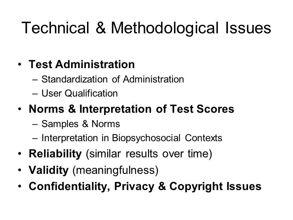 Technical & Methodological Issues