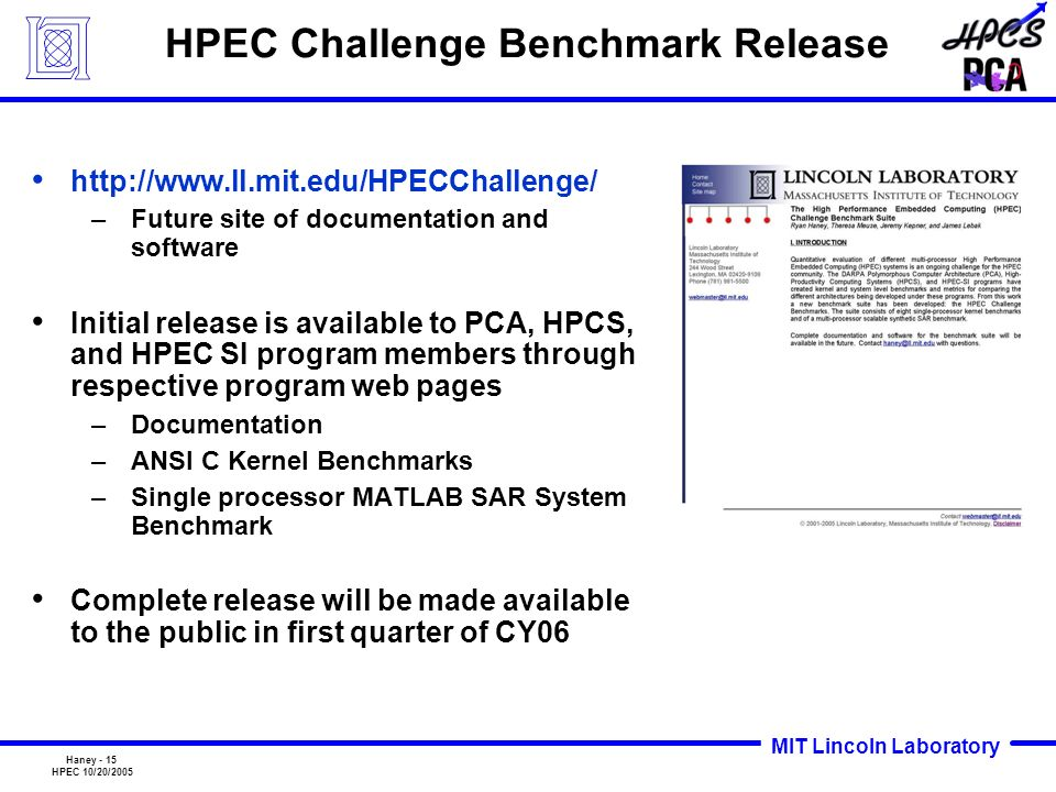 HPEC Challenge Benchmark Release