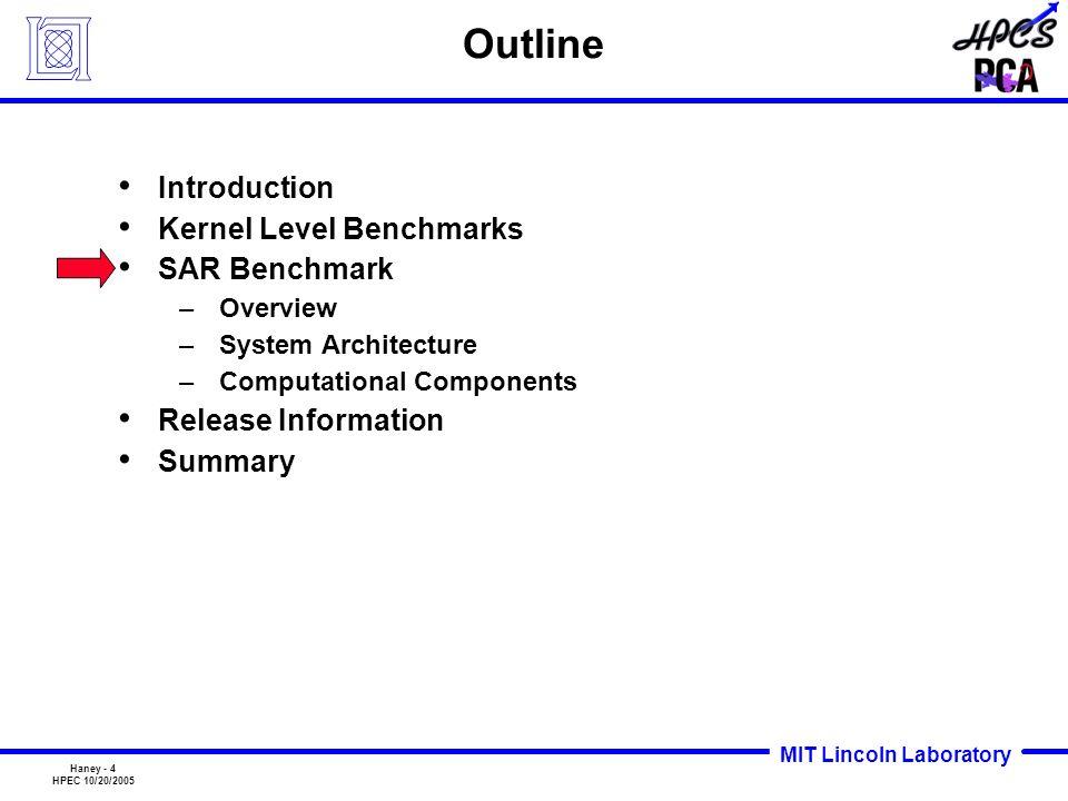 Outline Introduction Kernel Level Benchmarks SAR Benchmark