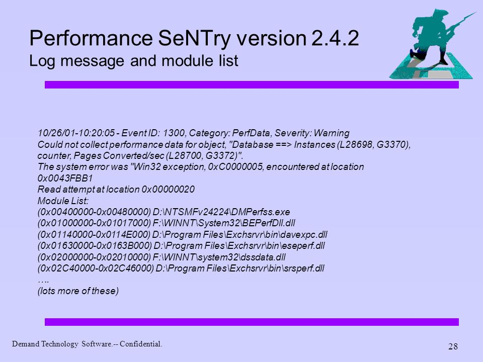 Performance SeNTry version 2.4.2 Log message and module list