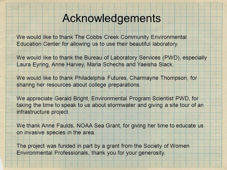 AcknowledgementsWe would like to thank The Cobbs Creek Community Environmental Education Center for allowing us to use their beautiful laboratory.