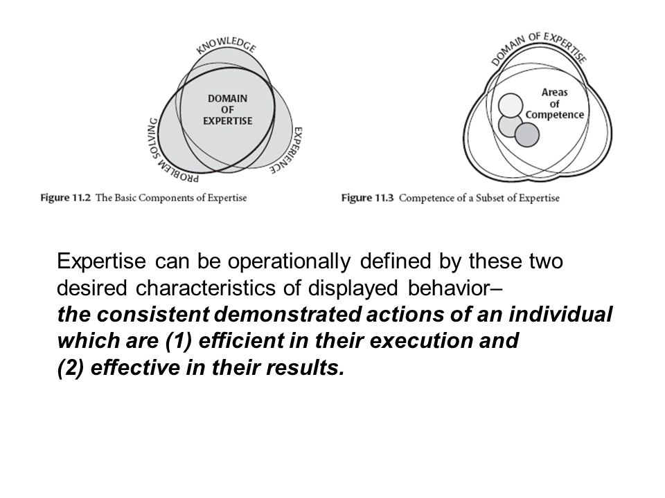 Expertise can be operationally defined by these two desired characteristics of displayed behavior–