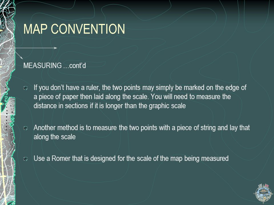 MAP CONVENTION MEASURING …cont'd